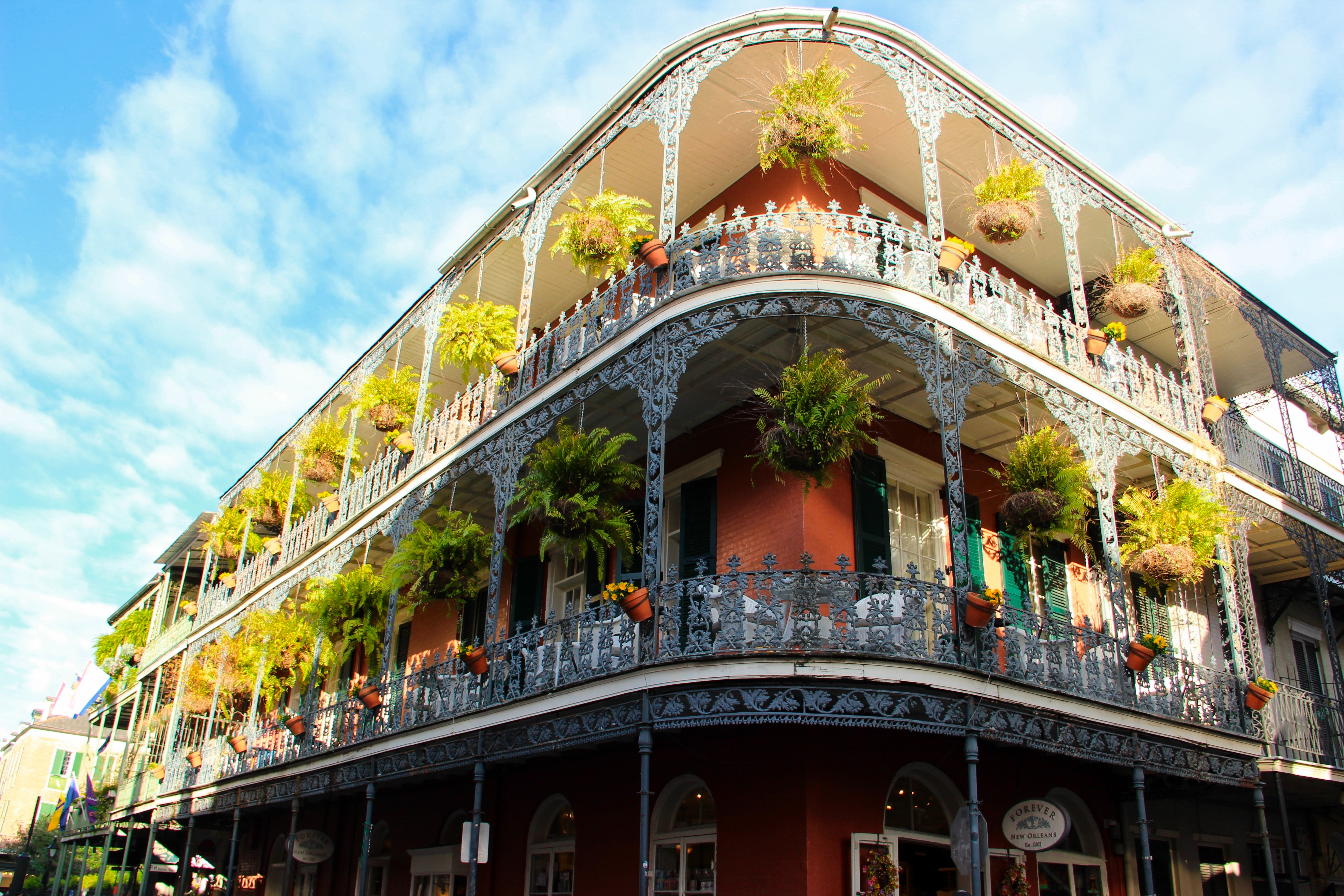 Colorful building corning in New Orleans.