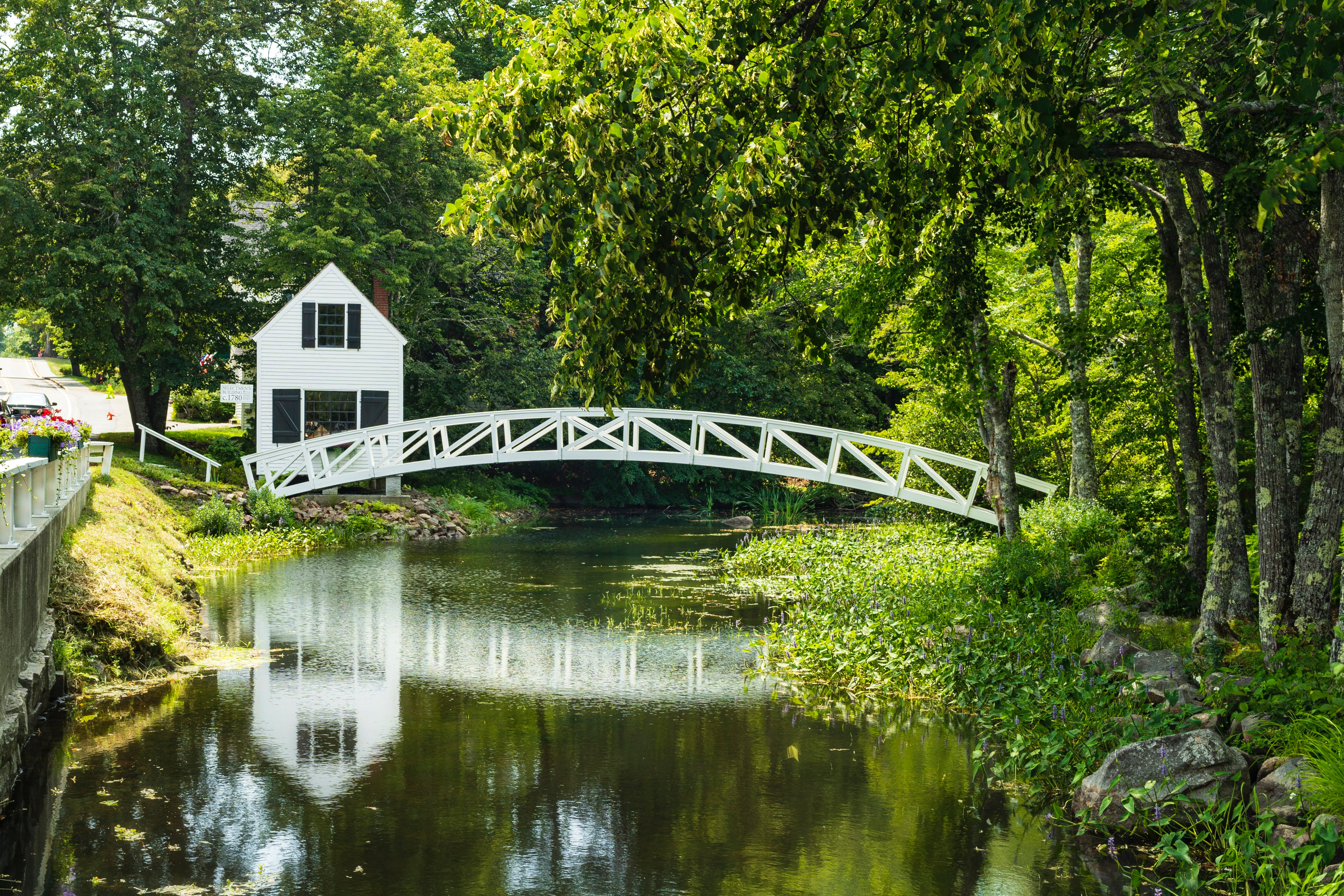 A white bridge arcing over a tranquil stream.