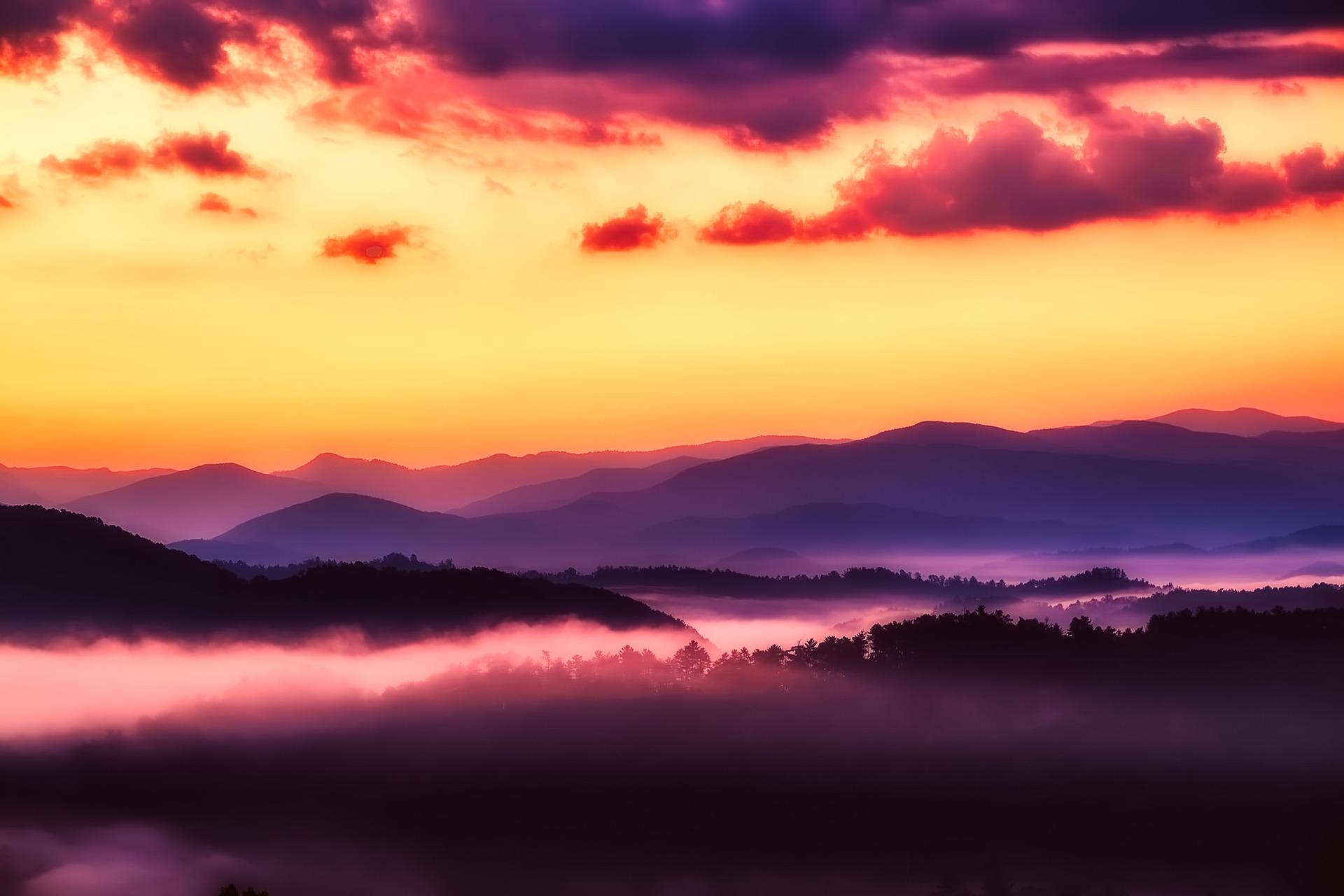 Mist hangs above a purple dusky mountain and forest landscape.