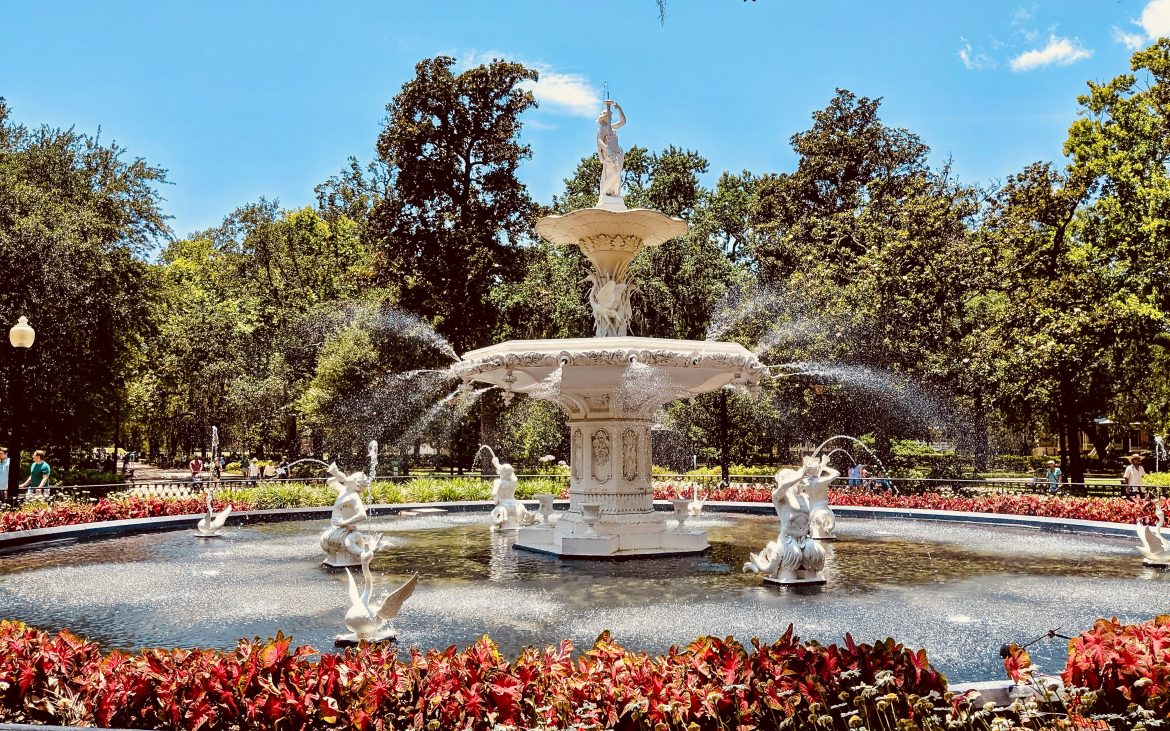 Fountain in Savannah's Forsyth Park in the Historic district