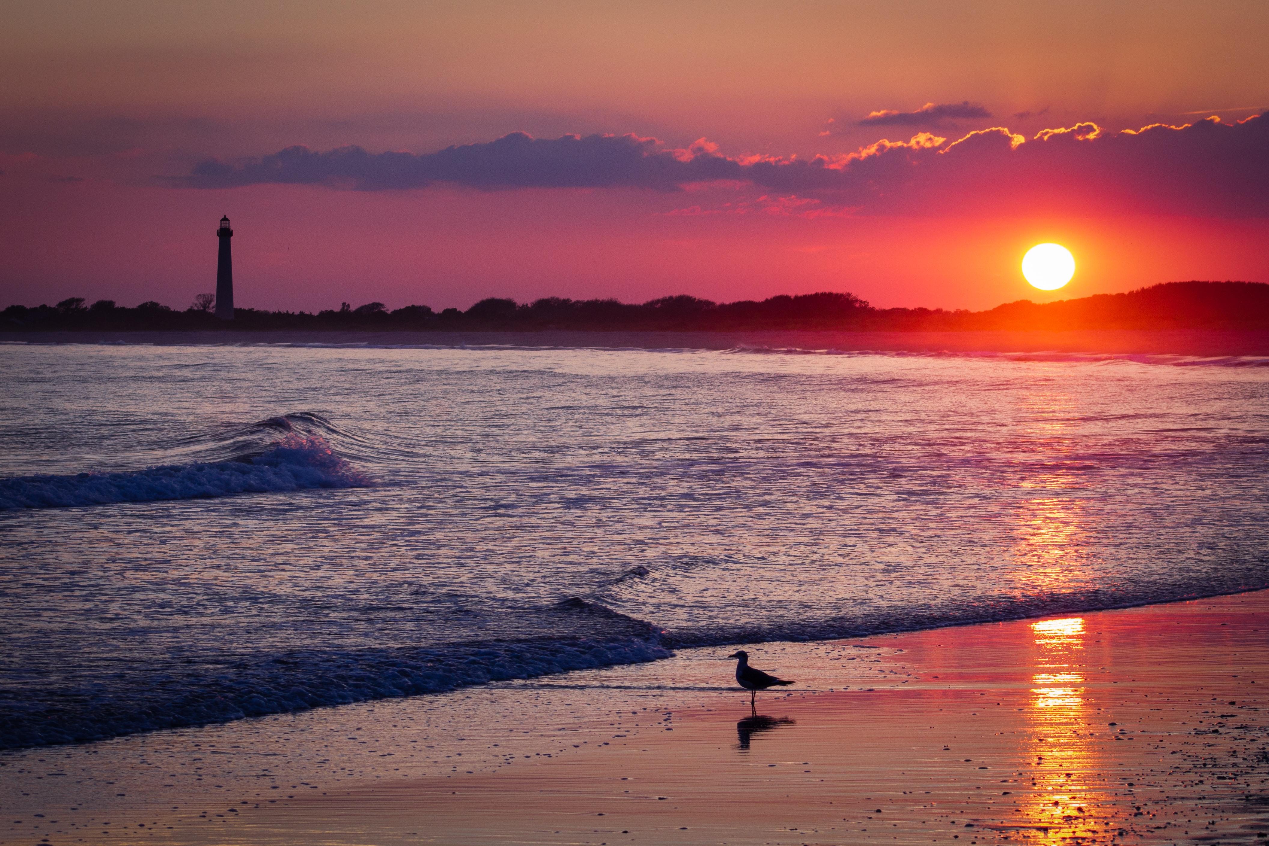 Walking an ocean shore at sunset.