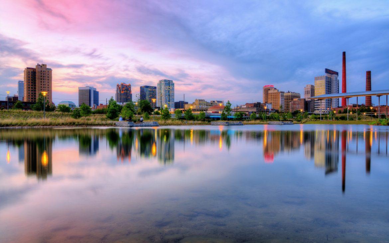 Cityscape and lake in Birmingham, Alabama.