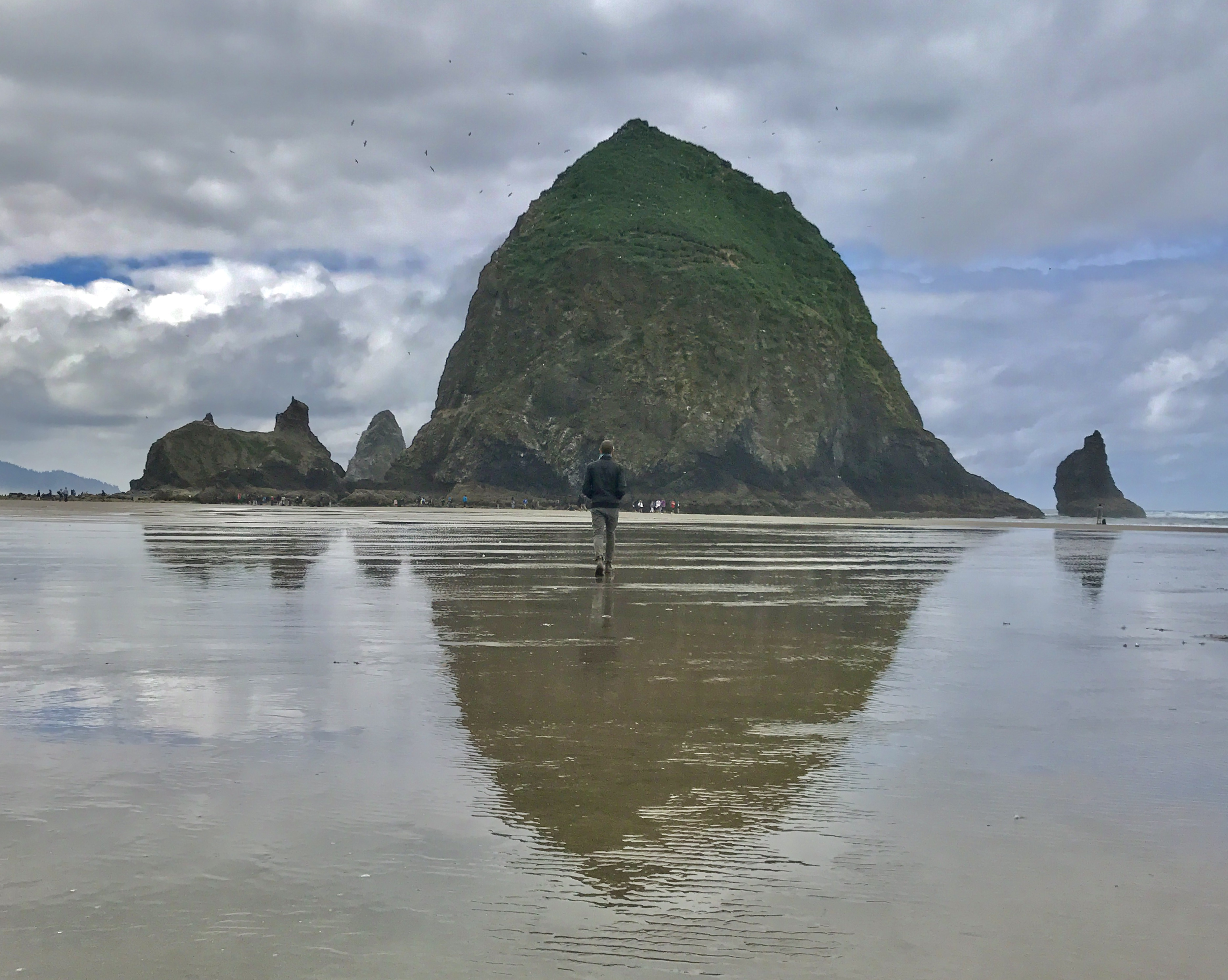 A giant rock rises from the wet shoreline and dominates the horizon.