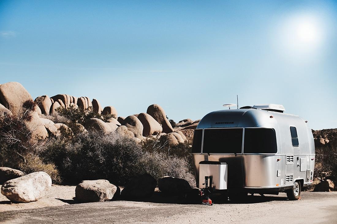 Silver Bullet trailer under hot sun