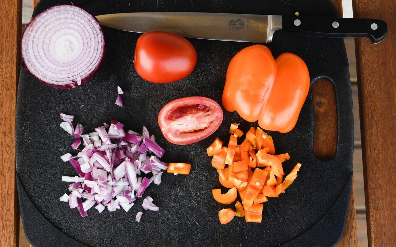 onion, tomato and pepper cut