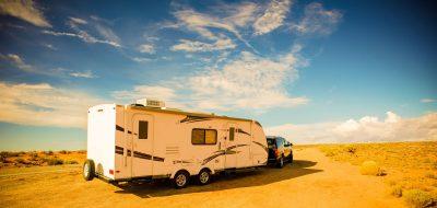 RV water Pressure — Travel Trailer in a sprawling flat desert