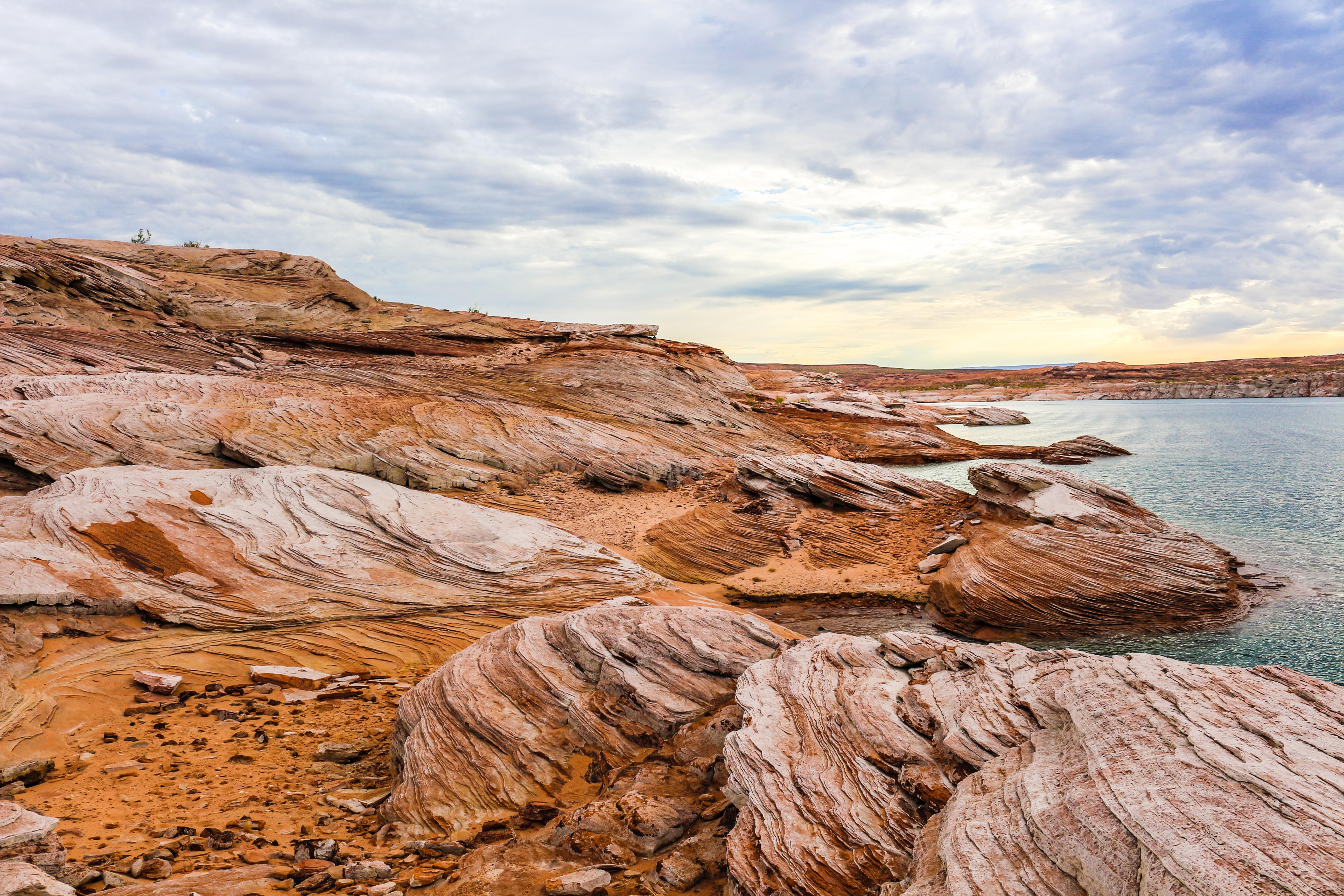 Rugged and arid shoreline of a desert lake.