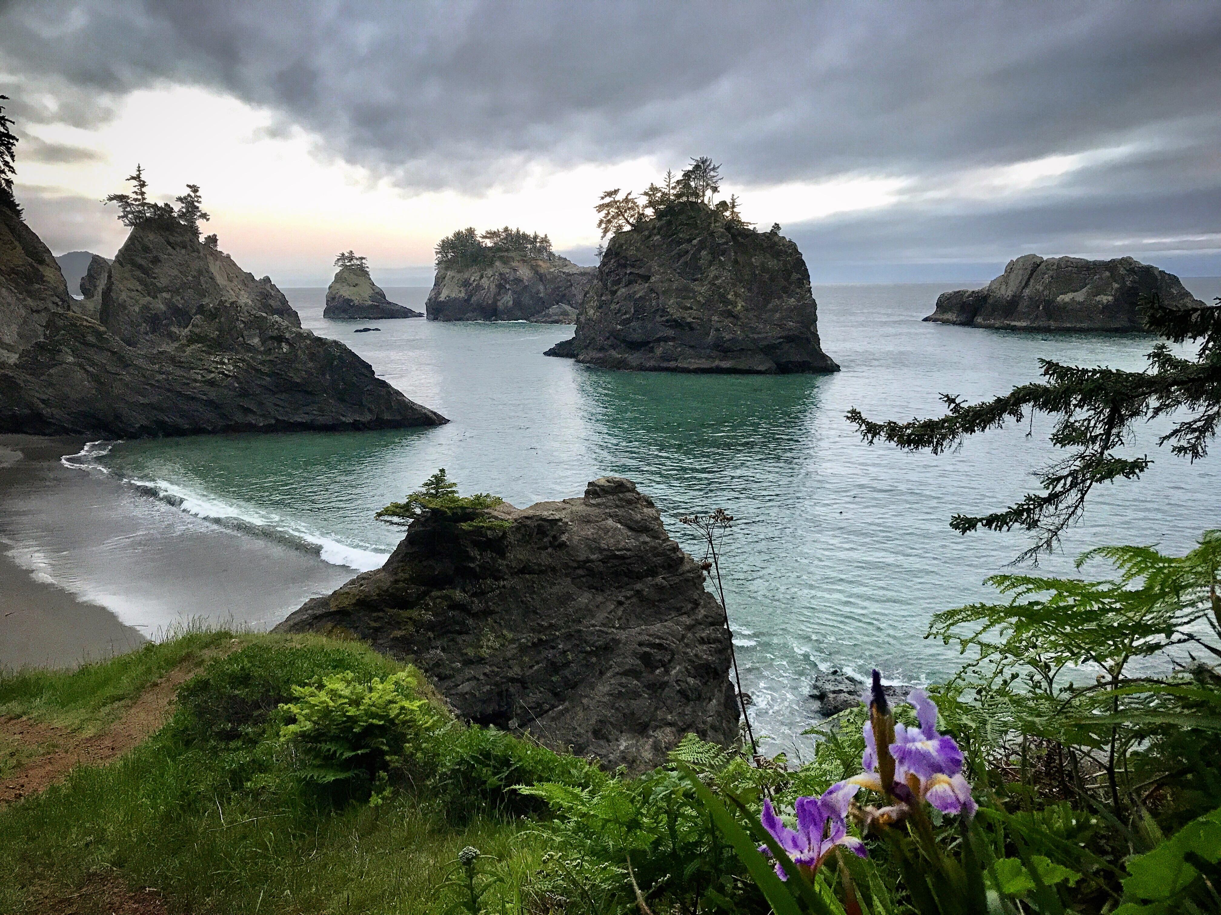 Oregon Coastline — sea stacks dot the ocean on a rugged coast