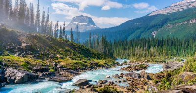 Stream and mountains at Yoho National Park, Field, Canada.