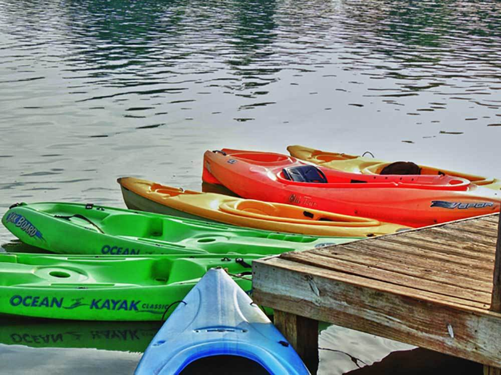 Colorful kayaks moored to a dock.