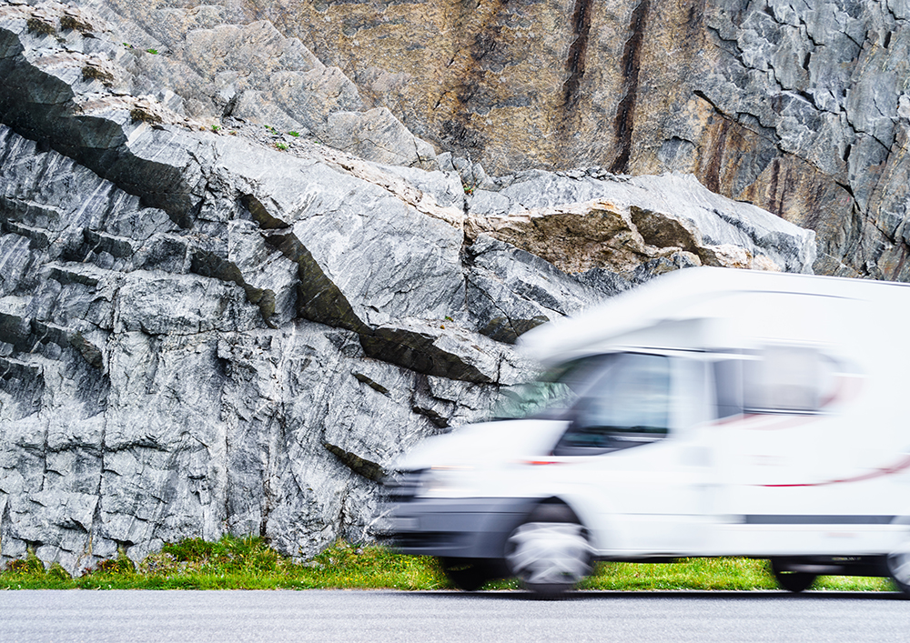 Secure Your RV's Components — RV moving fast down highway