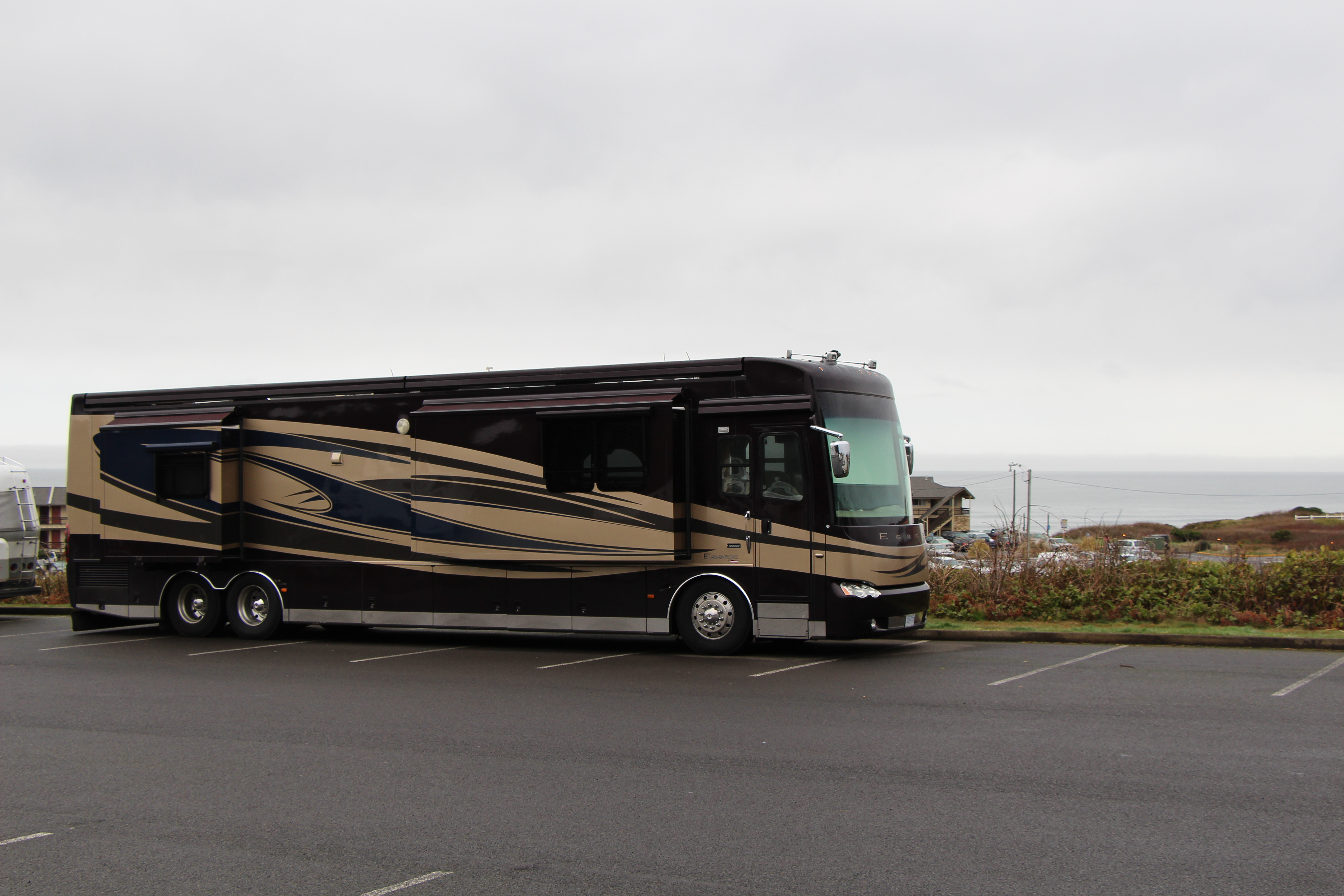 Motorhome parked in lot.