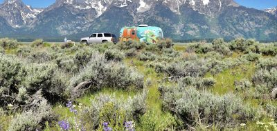 painted Airstream at one of the many overlooks at Grand Teton National Park