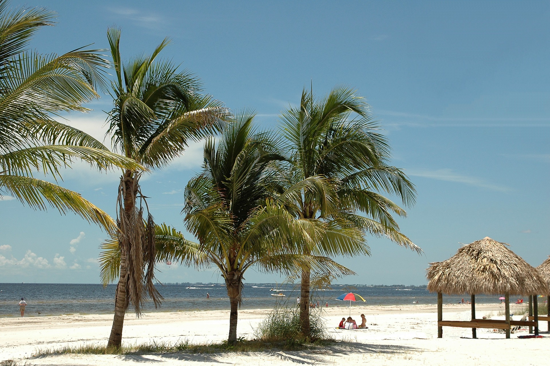 Palm trees sway in the wind on a silky white sand beach.