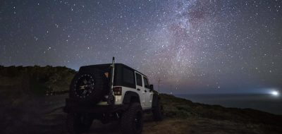 Get away from it all —a jeep under a starry sky in Point Reyes Naitonal Seashore.