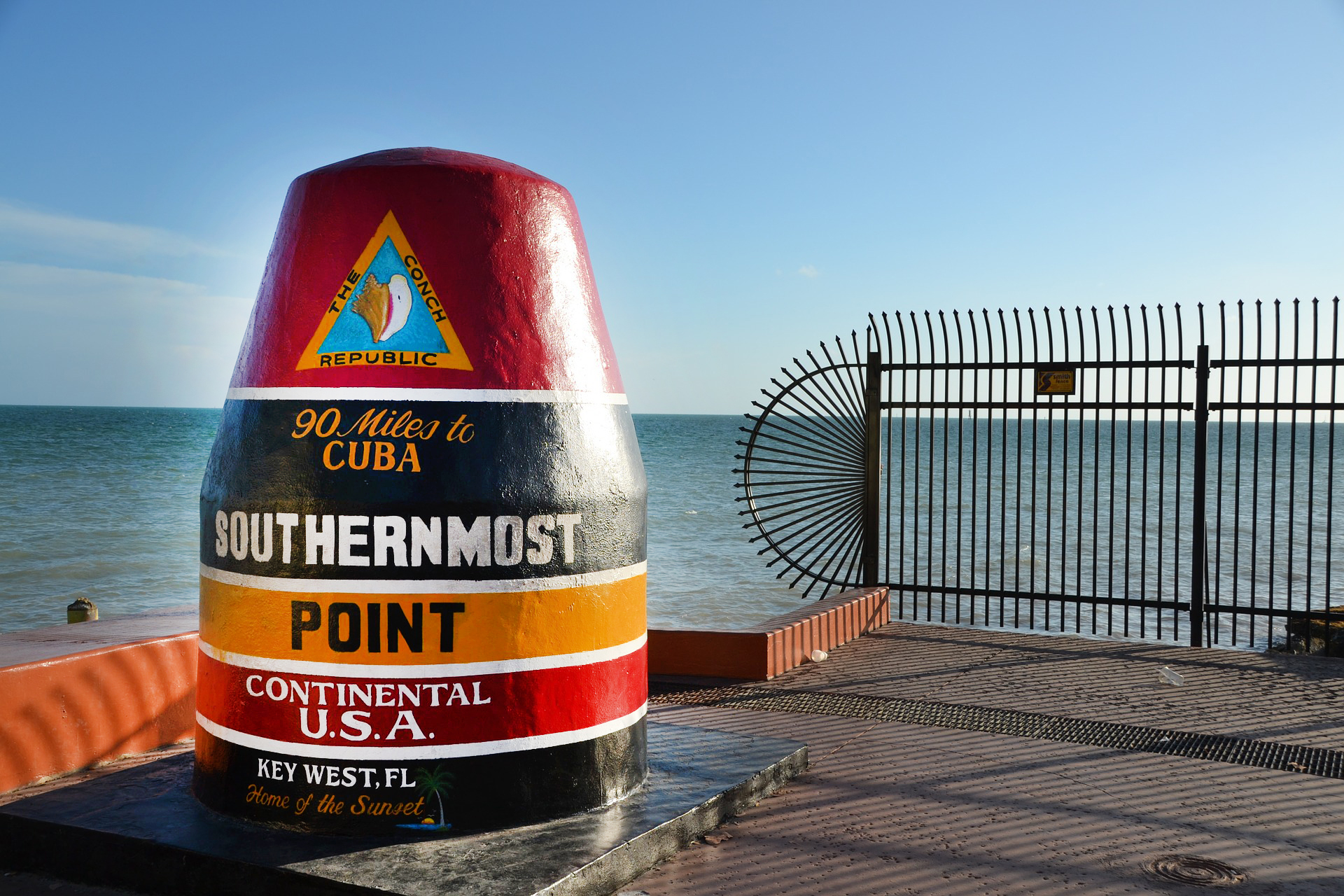 """A marker proclaims, """"Southernmost Point, Continental U.S.A."""""""