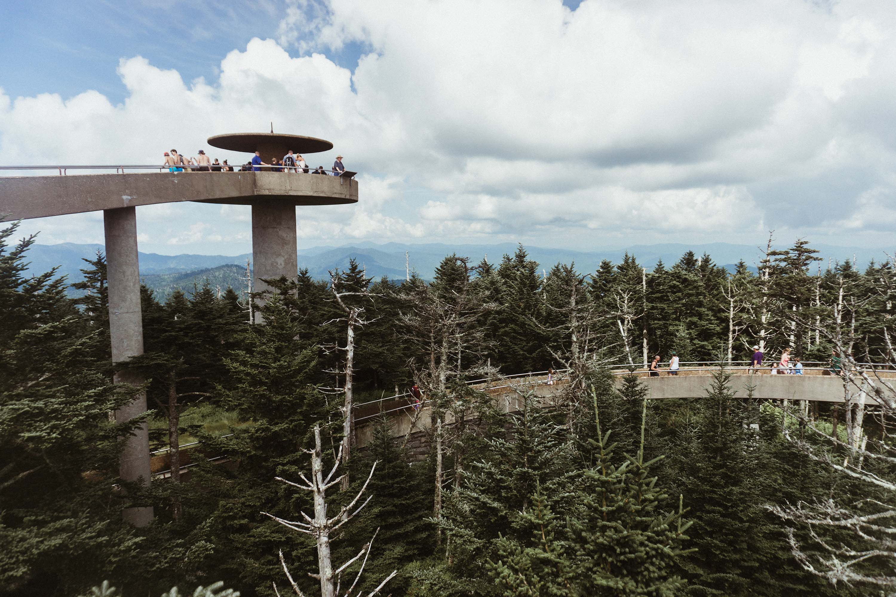 An observation tower accessible by winding walkway.