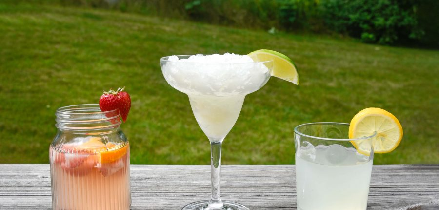 Camping Cocktails —three cocktails in a row, with margarita glass in the middle.