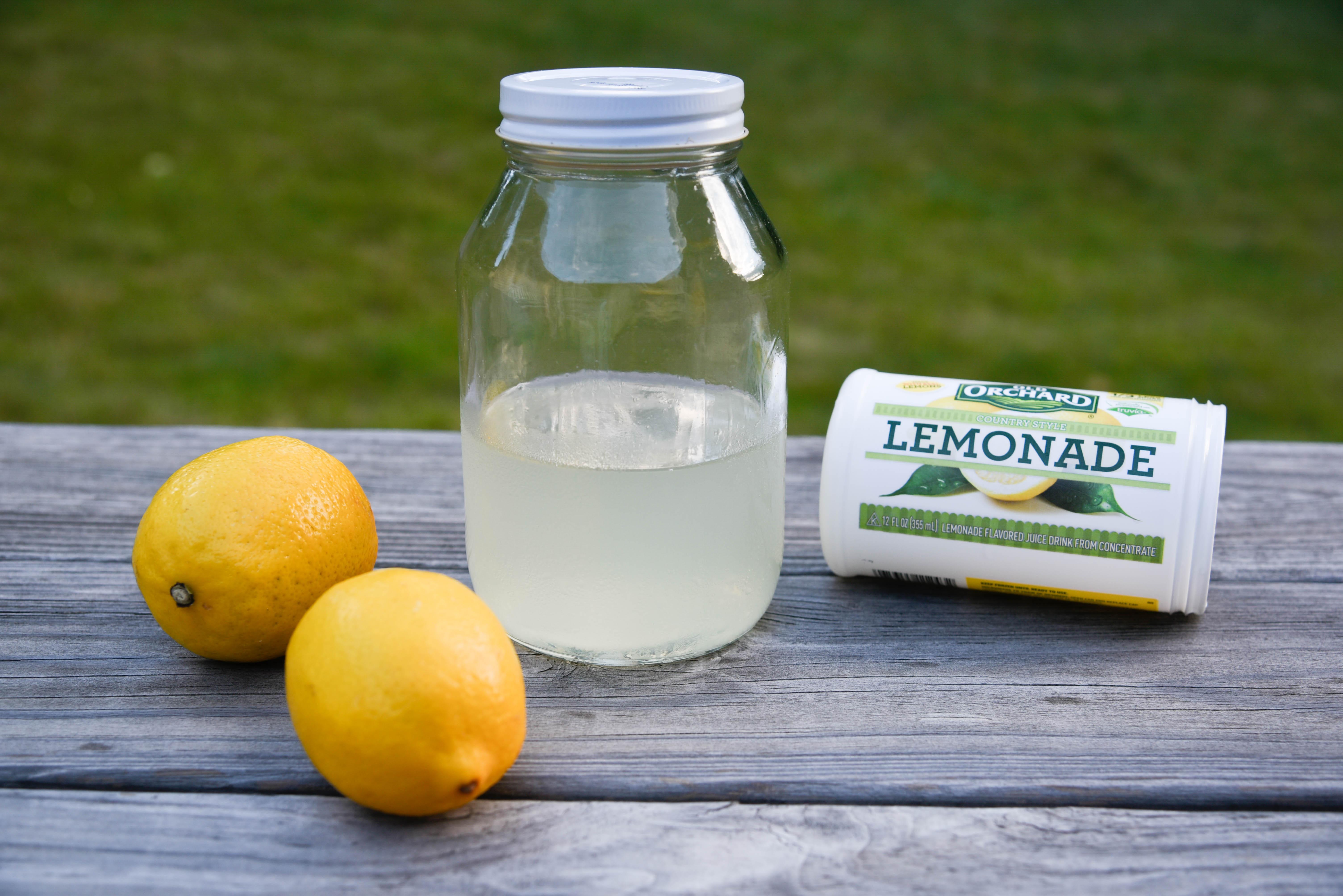 Lemons, jar and lemonade concentrate.