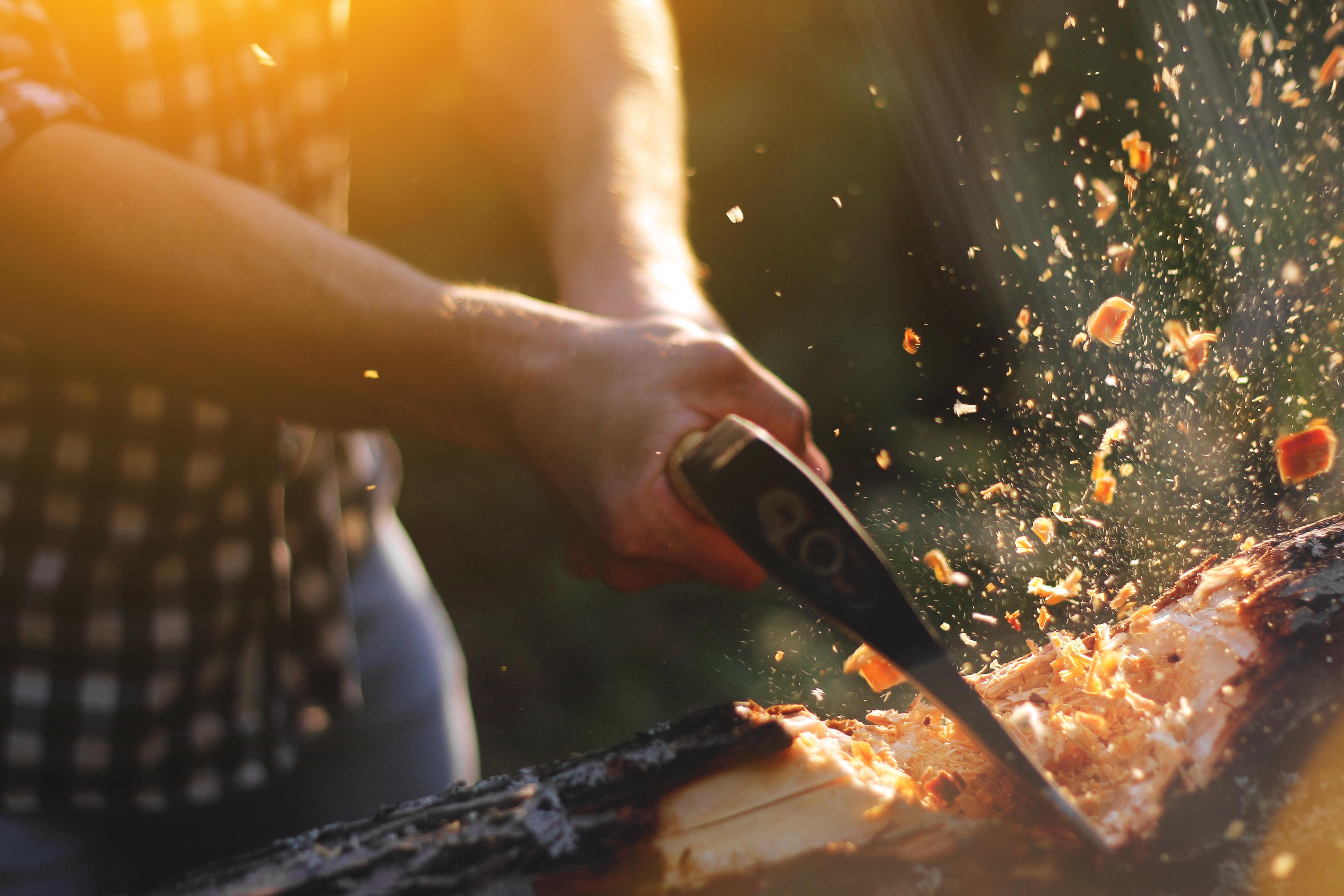 A man takes an ax to a log.