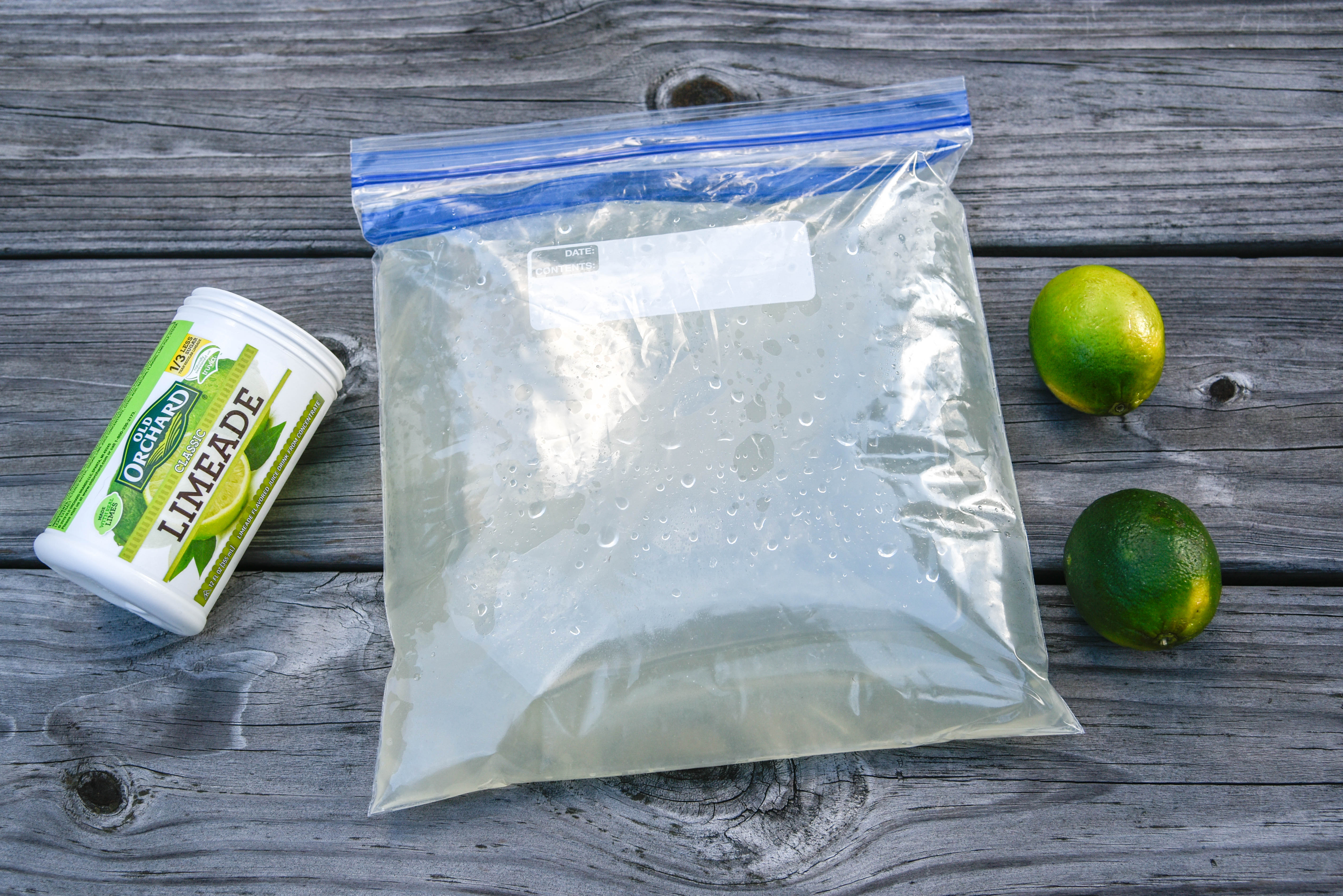Mixing bag with limeade and limes