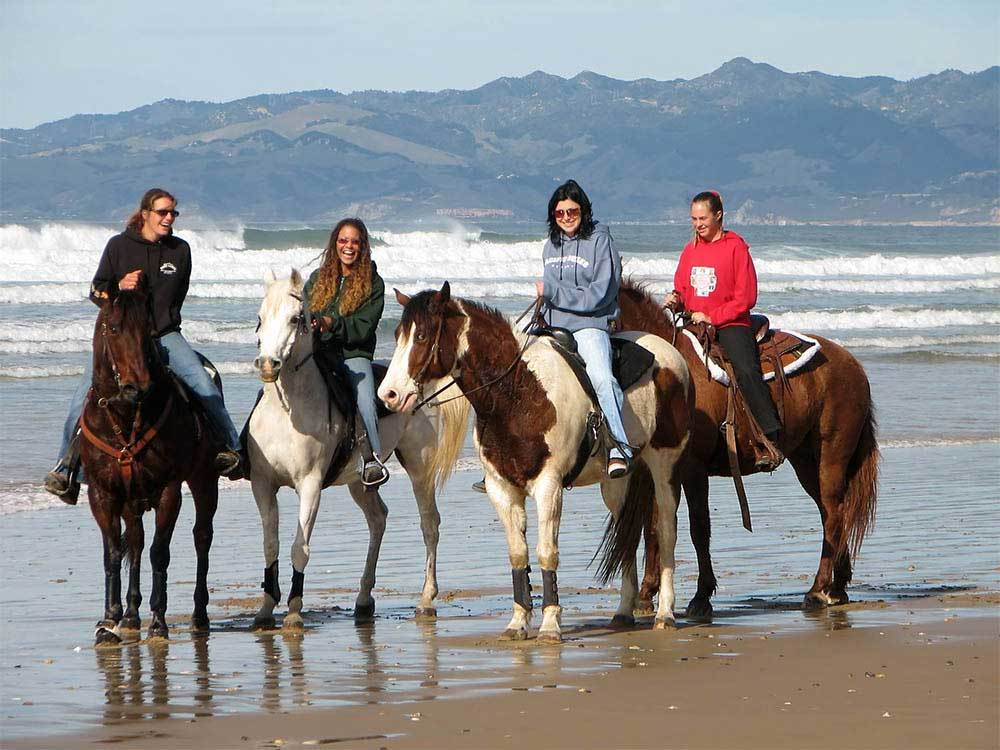 Four young women riding horses on the beach as green hills rise on the horizon.