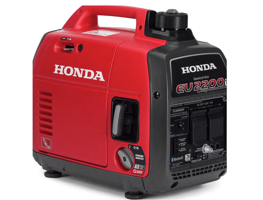 Bright Red Honda Generator on white background.