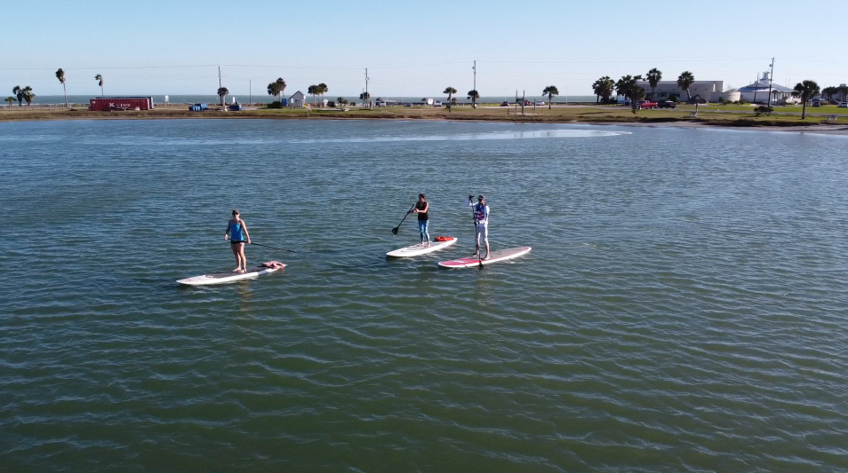 Three paddleboarders crossing a bay.