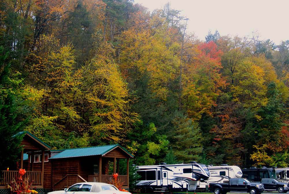 RVs and camping cabins against a background of crimson and gold fall foliages.