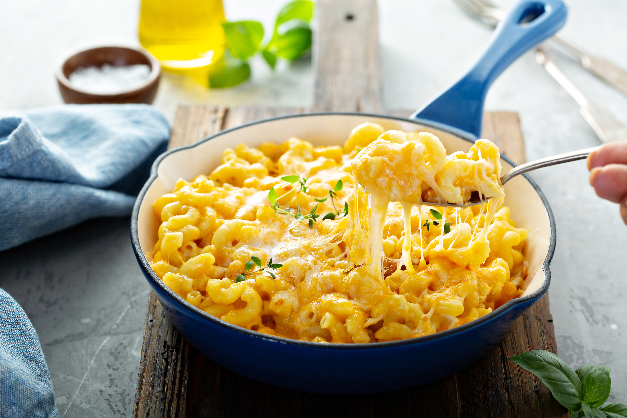 A pan brimming with delicious Mac and Cheese.