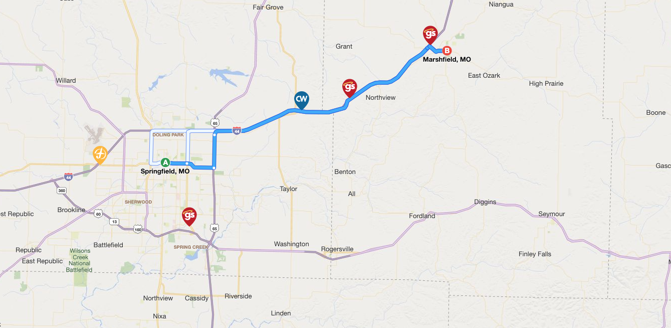 Map of major highways with location markers.